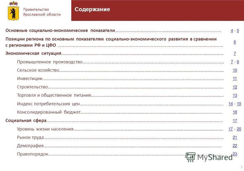 Правительство Ярославской области 3 Содержание Основные социально-экономические показатели……………………………………………………............................. 44 - 55 Позиции региона по основным показателям социально-экономического развития в сравнении с регионами РФ и