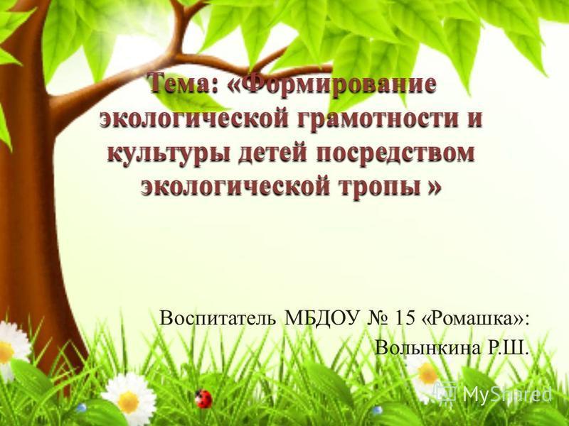 Воспитатель МБДОУ 15 «Ромашка»: Волынкина Р.Ш. Тема: «Формирование экологической грамотности и культуры детей посредством экологической тропы »