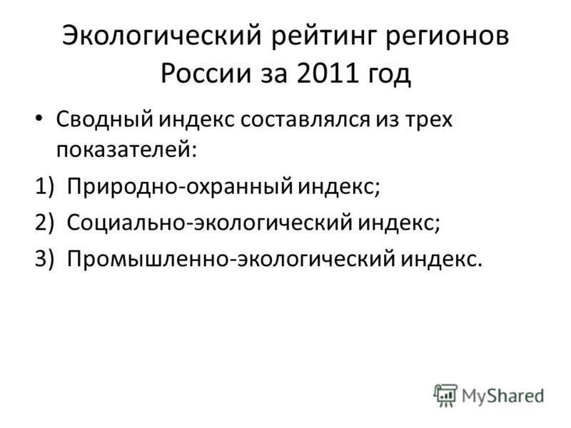 Экологический рейтинг регионов России за 2011 год Сводный индекс составлялся из трех показателей: 1)Природно-охранный индекс; 2)Социально-экологический индекс; 3)Промышленно-экологический индекс.