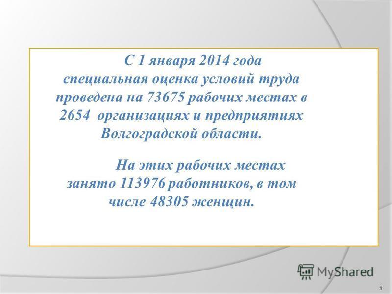 5 С 1 января 2014 года специальная оценка условий труда проведена на 73675 рабочих местах в 2654 организациях и предприятиях Волгоградской области. На этих рабочих местах занято 113976 работников, в том числе 48305 женщин.