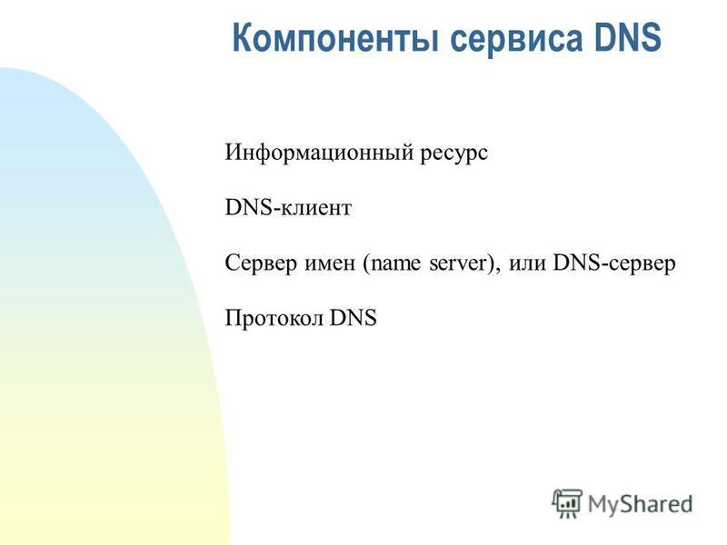 Компоненты сервиса DNS Информационный ресурс DNS-клиент Сервер имен (name server), или DNS-сервер Протокол DNS