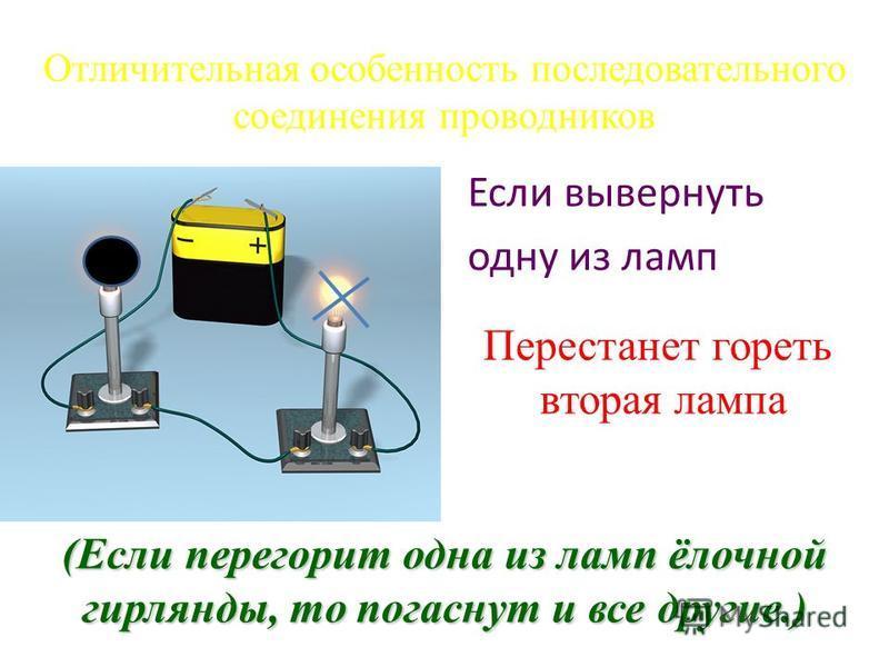 Отличительная особенность последовательного соединения проводников Если вывернуть одну из ламп Перестанет гореть вторая лампа (Если перегорит одна из ламп ёлочной гирлянды, то погаснут и все другие.)