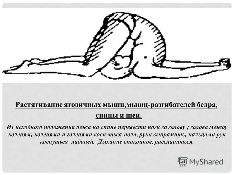 Растягивание ягодичных мышц,мышц-разгибателей бедра, спины и шеи. Из исходного положения лежа на спине перевести ноги за голову ; голова между коленям; коленями и голенями коснуться пола, руки выпрямить, пальцами рук коснуться ладоней. Дыхание спокой