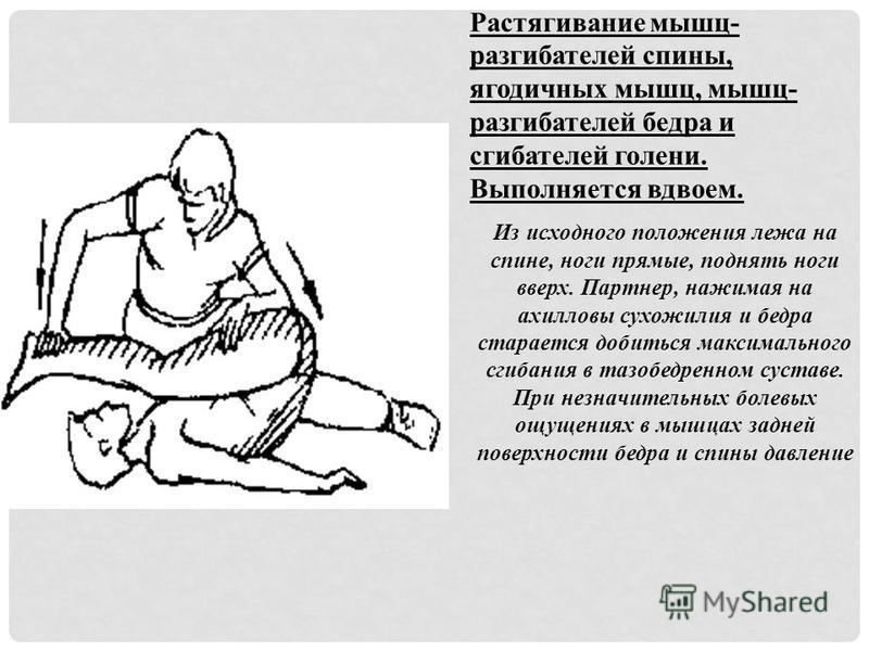 Растягивание мышц- разгибателей спины, ягодичных мышц, мышц- разгибателей бедра и сгибателей голени. Выполняется вдвоем. Из исходного положения лежа на спине, ноги прямые, поднять ноги вверх. Партнер, нажимая на ахилловы сухожилия и бедра старается д