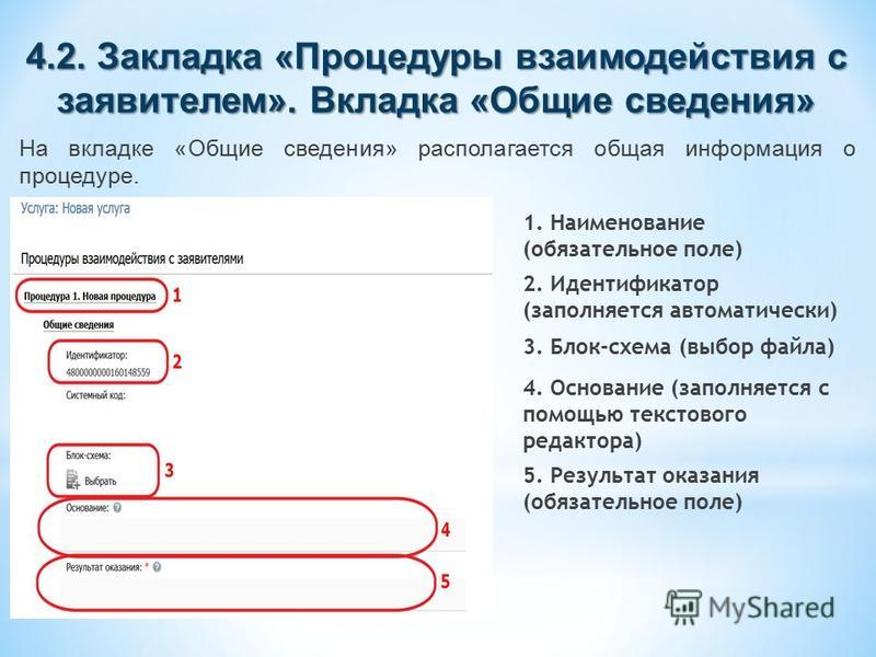 4.2. Закладка «Процедуры взаимодействия с заявителем». Вкладка «Общие сведения» На вкладке «Общие сведения» располагается общая информация о процедуре. 1. Наименование (обязательное поле) 2. Идентификатор (заполняется автоматически) 3. Блок-схема (вы