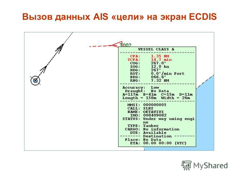 Вызов данных AIS «цели» на экран ECDIS