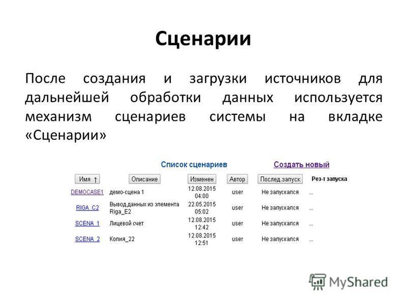 Сценарии После создания и загрузки источников для дальнейшей обработки данных используется механизм сценариев системы на вкладке «Сценарии»