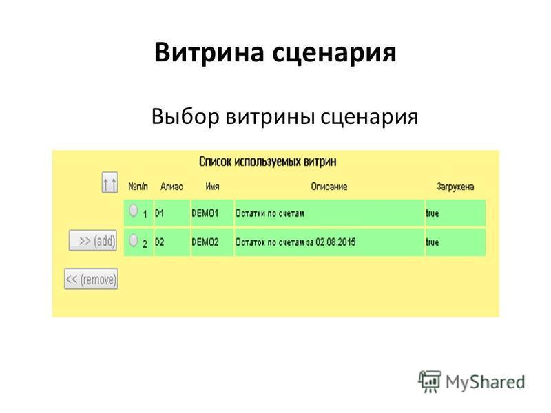 Витрина сценария Выбор витрины сценария