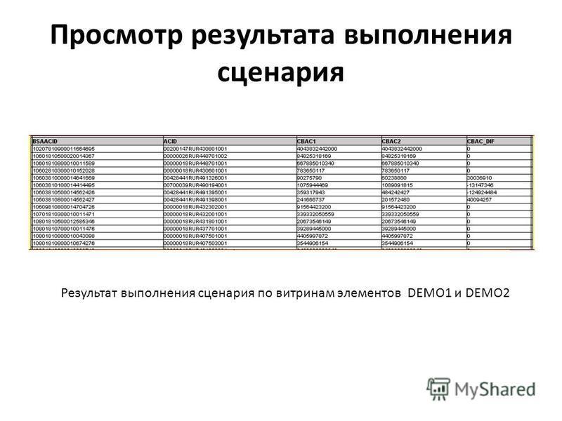 Просмотр результата выполнения сценария Результат выполнения сценария по витринам элементов DEMO1 и DEMO2