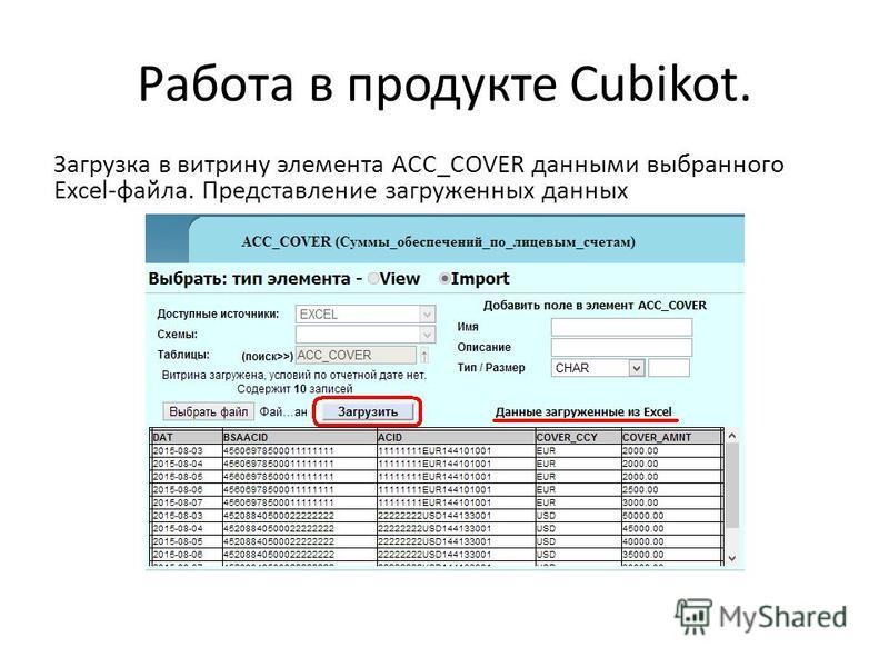 Работа в продукте Cubikot. Загрузка в витрину элемента ACC_COVER данными выбранного Excel-файла. Представление загруженных данных