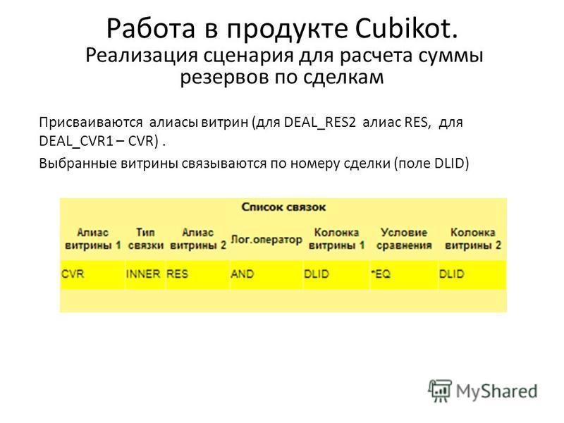 Работа в продукте Cubikot. Реализация сценария для расчета cуммы резервов по сделкам Присваиваются алиасы витрин (для DEAL_RES2 алиас RES, для DEAL_CVR1 – CVR). Выбранные витрины связываются по номеру сделки (поле DLID)