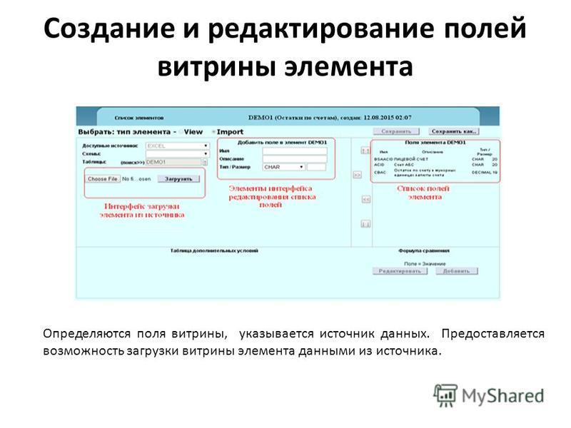 Создание и редактирование полей витрины элемента Определяются поля витрины, указывается источник данных. Предоставляется возможность загрузки витрины элемента данными из источника.