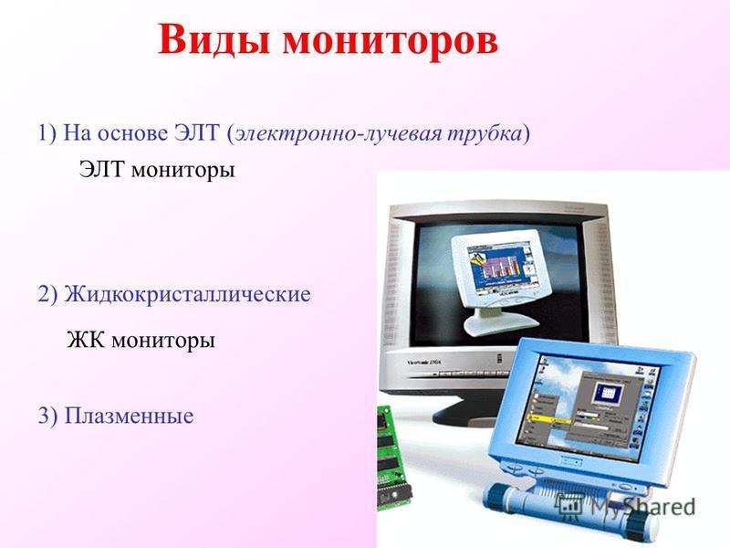 Виды мониторов 1) На основе ЭЛТ (электронно-лучевая трубка) 2) Жидкокристаллические ЭЛТ мониторы ЖК мониторы 3) Плазменные