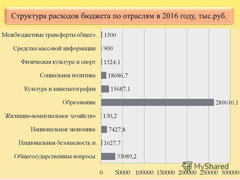 Структура расходов бюджета по отраслям в 2016 году, тыс.руб. тыс.рублей