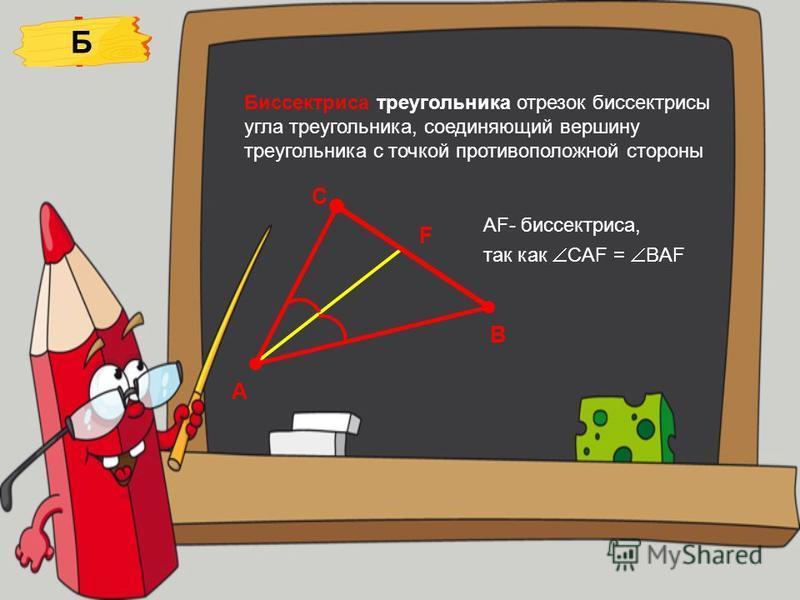 Биссектриса треугольника отрезок биссектрисы угла треугольника, соединяющий вершину треугольника с точкой противоположной стороны AF- биссектриса, так как СAF = BAF Б А В С F