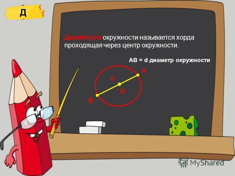 Диаметром окружности называется хорда проходящая через центр окружности. О А d АB = d диаметр окружности Д В