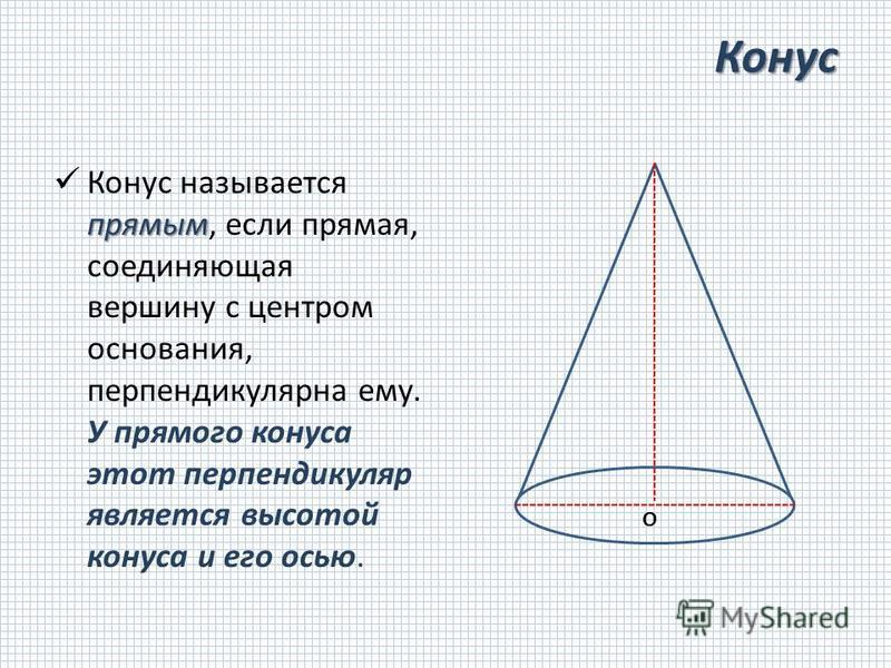 Конус прямым Конус называется прямым, если прямая, соединяющая вершину с центром основания, перпендикулярна ему. У прямого конуса этот перпендикуляр является высотой конуса и его осью. О