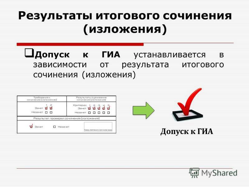 Результаты итогового сочинения (изложения) Допуск к ГИА устанавливается в зависимости от результата итогового сочинения (изложения) Допуск к ГИА