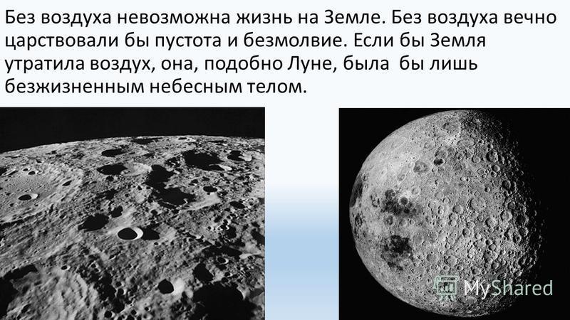 Без воздуха невозможна жизнь на Земле. Без воздуха вечно царствовали бы пустота и безмолвие. Если бы Земля утратила воздух, она, подобно Луне, была бы лишь безжизненным небесным телом.