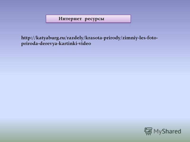 http://katyaburg.ru/razdely/krasota-prirody/zimniy-les-foto- priroda-derevya-kartinki-video Интернет ресурсы