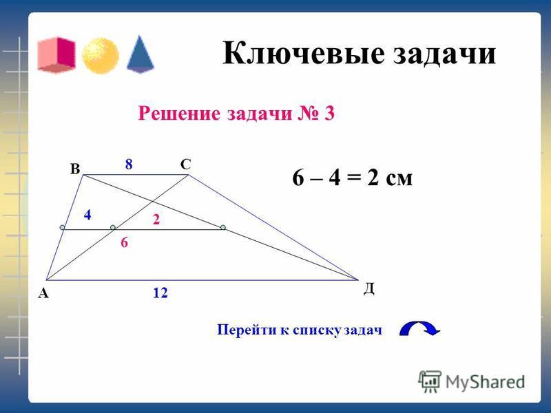Ключевые задачи Решение задачи 2 Р = ( 8 + 2 + 8 ) 2 = 36 см. Перейти к списку задач АВ Д С М28 8