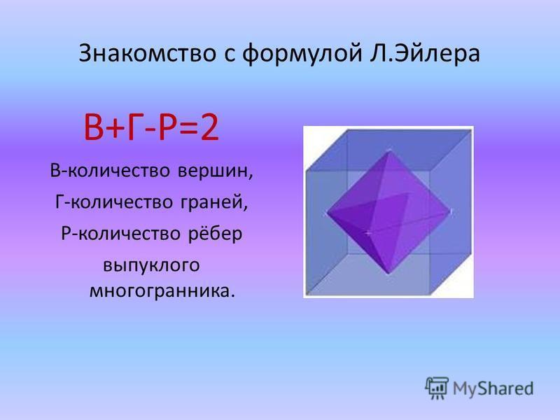 Знакомство с формулой Л.Эйлера В+Г-Р=2 В-количество вершин, Г-количество граней, Р-количество рёбер выпуклого многогранника.