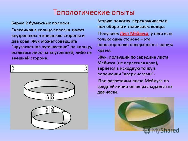 Топологические опыты Берем 2 бумажных полоски. Склеенная в кольцо полоска имеет внутреннюю и внешнюю стороны и два края. Жук может совершить