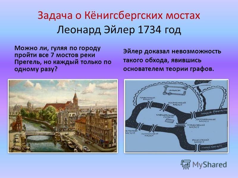 Задача о Кёнигсбергских мостах Леонард Эйлер 1734 год Можно ли, гуляя по городу пройти все 7 мостов реки Прегель, но каждый только по одному разу? Эйлер доказал невозможность такого обхода, явившись основателем теории графов.