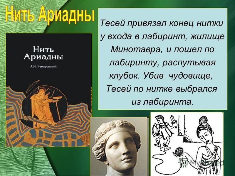 Тесей привязал конец нитки у входа в лабиринт, жилище Минотавра, и пошел по лабиринту, распутывая клубок. Убив чудовище, Тесей по нитке выбрался из лабиринта.