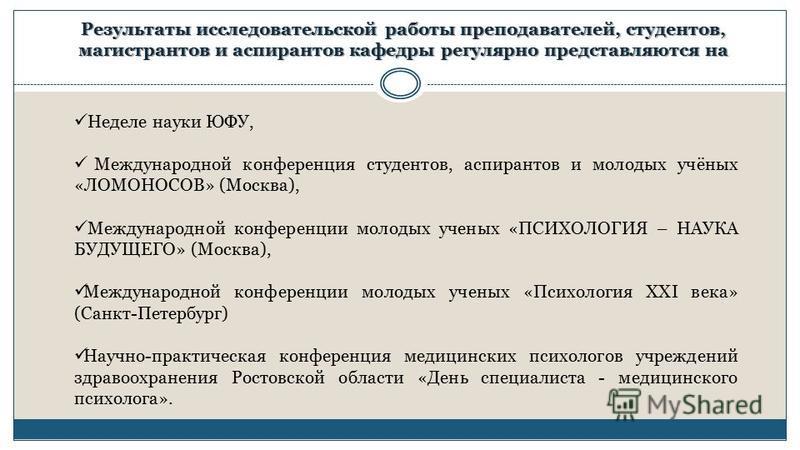 Неделе науки ЮФУ, Международной конференция студентов, аспирантов и молодых учёных «ЛОМОНОСОВ» (Москва), Международной конференции молодых ученых «ПСИХОЛОГИЯ – НАУКА БУДУЩЕГО» (Москва), Международной конференции молодых ученых «Психология XXI века» (