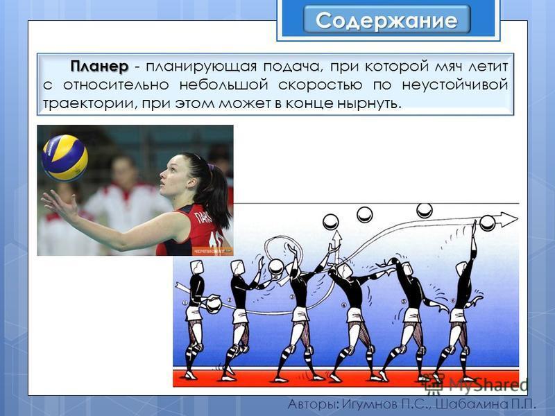 Авторы: Игумнов П.С., Шабалина П.П. Планер Планер - планирующая подача, при которой мяч летит с относительно небольшой скоростью по неустойчивой траектории, при этом может в конце нырнуть. Содержание