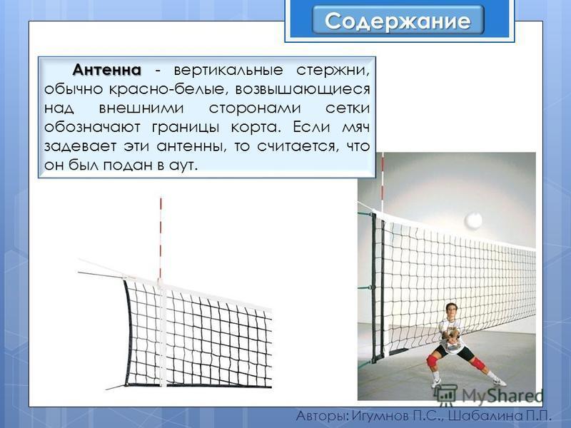 Авторы: Игумнов П.С., Шабалина П.П. Антенна Антенна - вертикальные стержни, обычно красно-белые, возвышающиеся над внешними сторонами сетки обозначают границы корта. Если мяч задевает эти антенны, то считается, что он был подан в аут. Содержание