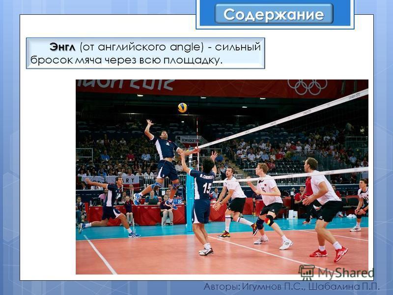 Авторы: Игумнов П.С., Шабалина П.П. Энгл Энгл (от английского angle) - сильный бросок мяча через всю площадку. Содержание