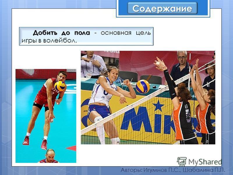 Авторы: Игумнов П.С., Шабалина П.П. Добить до пола Добить до пола - основная цель игры в волейбол. Содержание