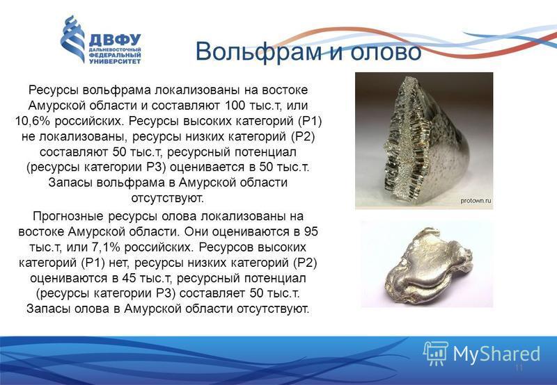 Вольфрам и олово Ресурсы вольфрама локализованы на востоке Амурской области и составляют 100 тыс.т, или 10,6% российских. Ресурсы высоких категорий (Р1) не локализованы, ресурсы низких категорий (Р2) составляют 50 тыс.т, ресурсный потенциал (ресурсы