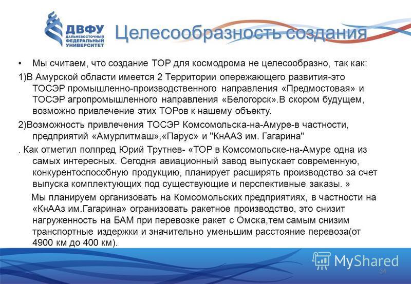 Целесообразность создания Мы считаем, что создание ТОР для космодрома не целесообразно, так как: 1)В Амурской области имеется 2 Территории опережающего развития-это ТОСЭР промышленно-производственного направления «Предмостовая» и ТОСЭР агропромышленн