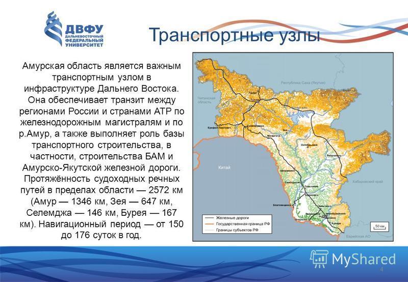 Транспортные узлы Амурская область является важным транспортным узлом в инфраструктуре Дальнего Востока. Она обеспечивает транзит между регионами России и странами АТР по железнодорожным магистралям и по р.Амур, а также выполняет роль базы транспортн
