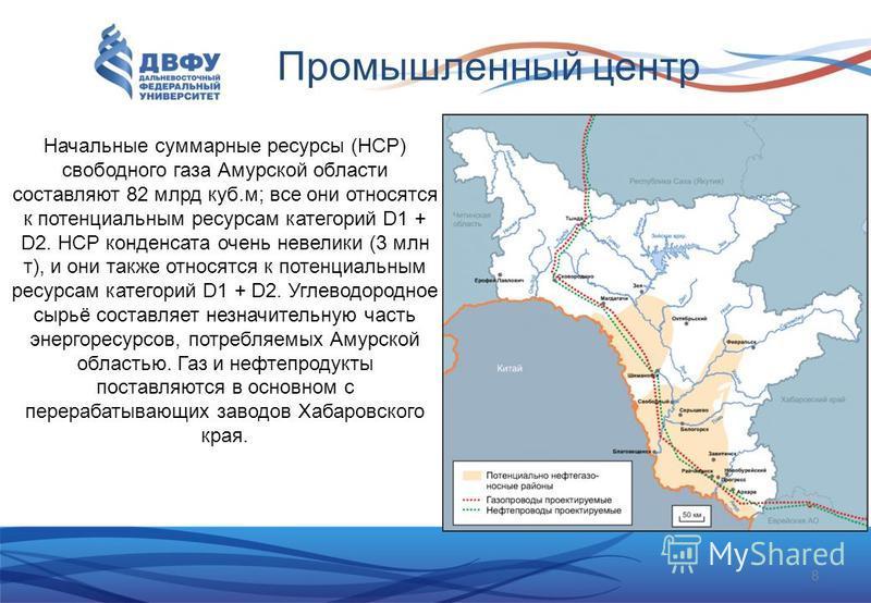 Промышленный центр Начальные суммарные ресурсы (НСР) свободного газа Амурской области составляют 82 млрд куб.м; все они относятся к потенциальным ресурсам категорий D1 + D2. НСР конденсата очень невелики (3 млн т), и они также относятся к потенциальн