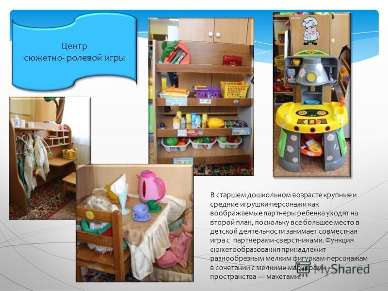 Центр сюжетно- ролевой игры Центр сюжетно- ролевой игры В старшем дошкольном возрасте крупные и средние игрушки-персонажи как воображаемые партнеры ребенка уходят на второй план, поскольку все большее место в детской деятельности занимает совместная