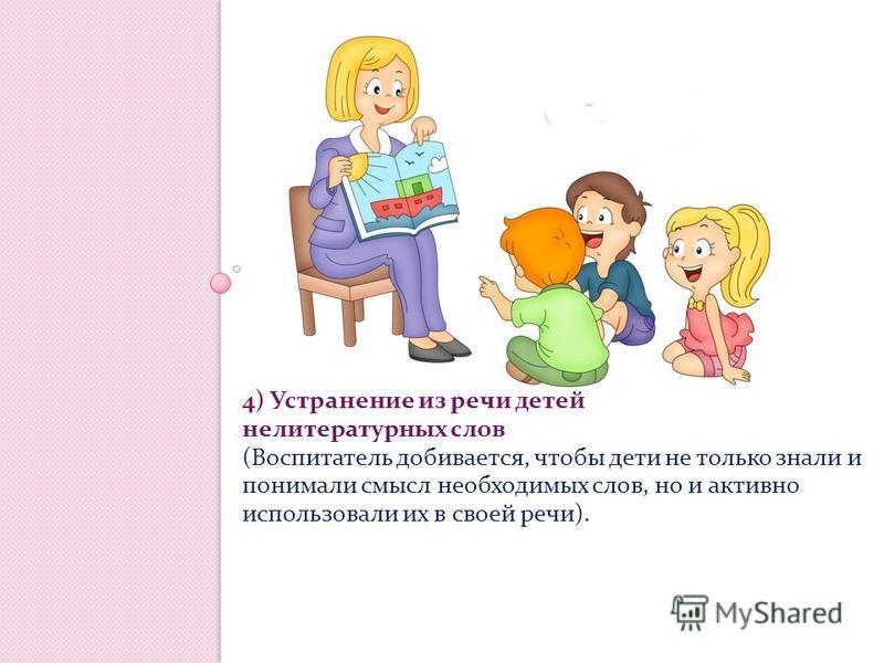4) Устранение из речи детей нелитературных слов (Воспитатель добивается, чтобы дети не только знали и понимали смысл необходимых слов, но и активно использовали их в своей речи).
