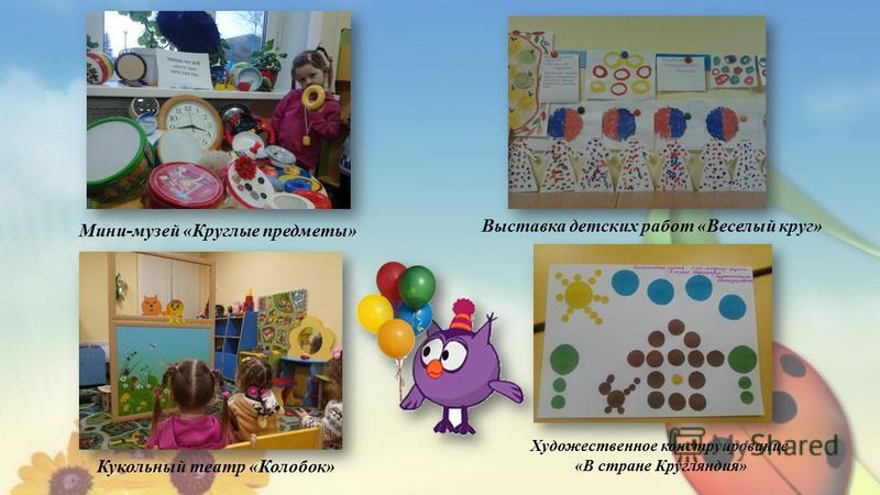 Выставка детских работ «Веселый круг» Художественное конструирование «В стране Кругляндия» Мини-музей «Круглые предметы» Кукольный театр «Колобок»
