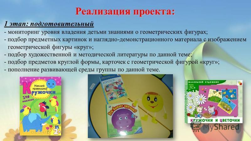 Реализация проекта: 1 этап: подготовительный - мониторинг уровня владения детьми знаниями о геометрических фигурах; - подбор предметных картинок и наглядно-демонстрационного материала с изображением геометрической фигуры «круг»; - подбор художественн