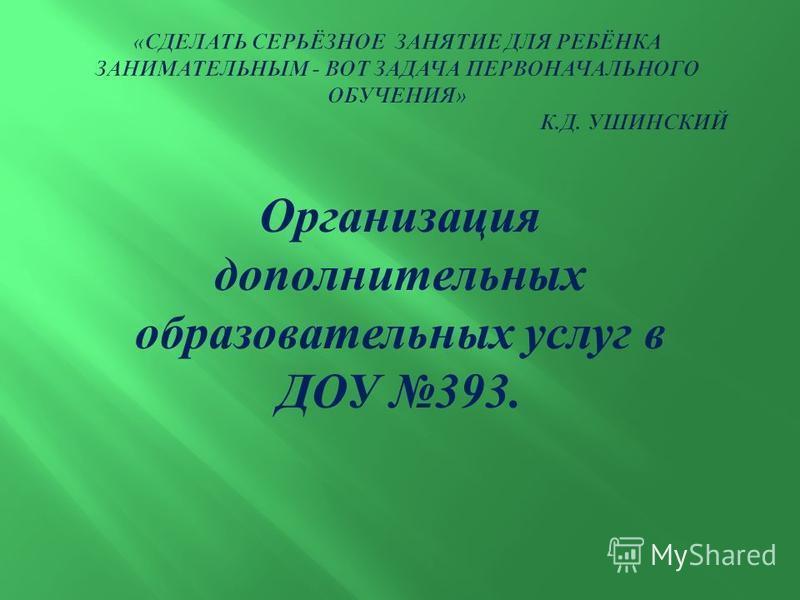 Организация дополнительных образовательных услуг в ДОУ 393.