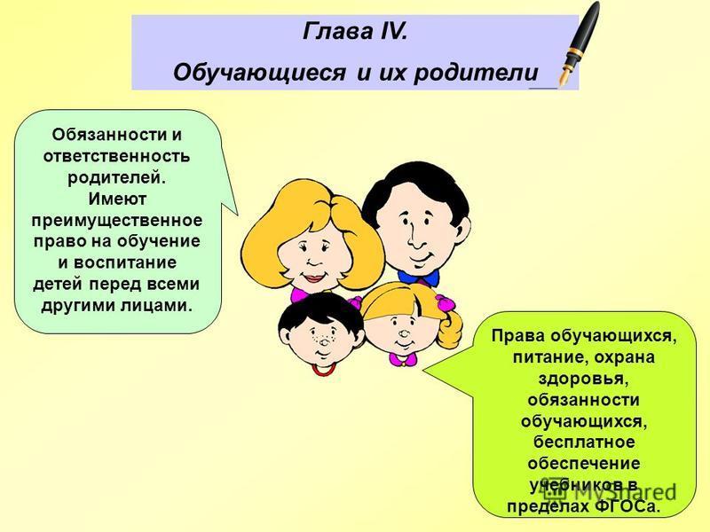 Глава IV. Обучающиеся и их родители Права обучающихся, питание, охрана здоровья, обязанности обучающихся, бесплатное обеспечение учебников в пределах ФГОСа. Обязанности и ответственность родителей. Имеют преимущественное право на обучение и воспитани
