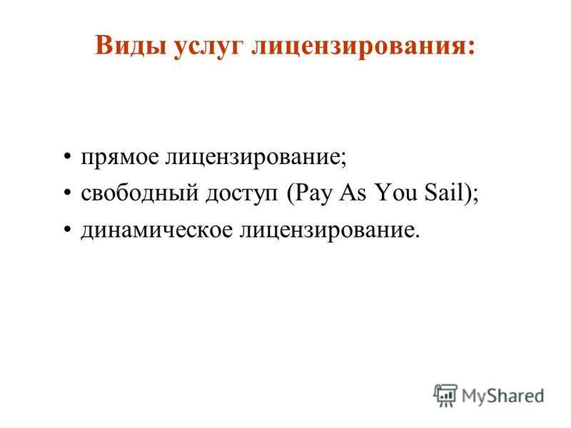 Виды услуг лицензирования: прямое лицензирование; свободный доступ (Pay As You Sail); динамическое лицензирование.
