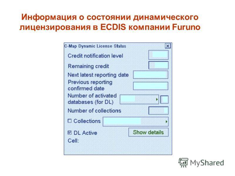 Информация о состоянии динамического лицензирования в ECDIS компании Furuno