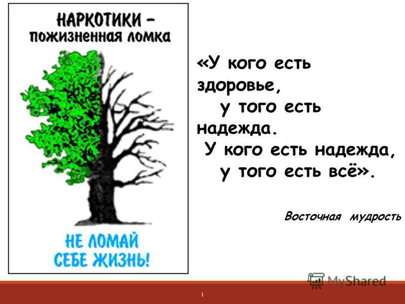 «У кого есть здоровье, у того есть надежда. У кого есть надежда, у того есть всё». Восточная мудрость 1