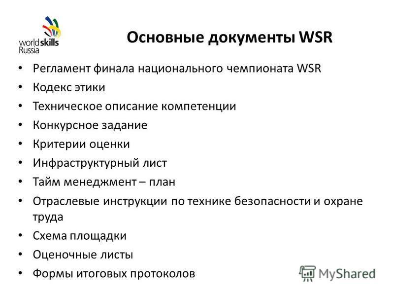 Основные документы WSR Регламент финала национального чемпионата WSR Кодекс этики Техническое описание компетенции Конкурсное задание Критерии оценки Инфраструктурный лист Тайм менеджмент – план Отраслевые инструкции по технике безопасности и охране