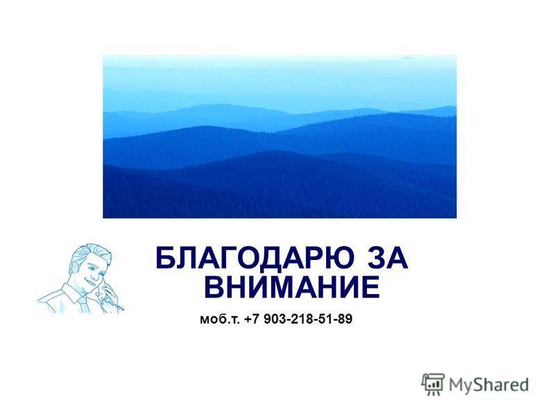 БЛАГОДАРЮ ЗА ВНИМАНИЕ моб.т. +7 903-218-51-89