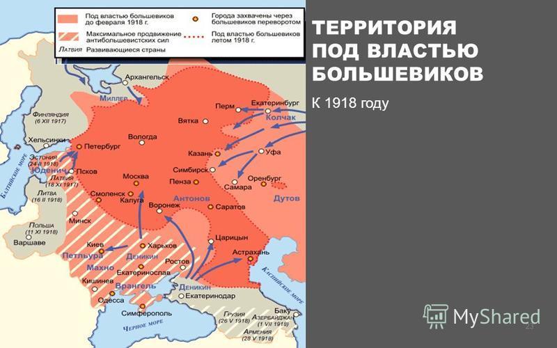 ТЕРРИТОРИЯ ПОД ВЛАСТЬЮ БОЛЬШЕВИКОВ К 1918 году 23